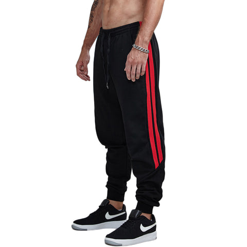 Elastic Double Striped Joggers Pants-men fashion & fitness-wanahavit-Fleece white-S-wanahavit