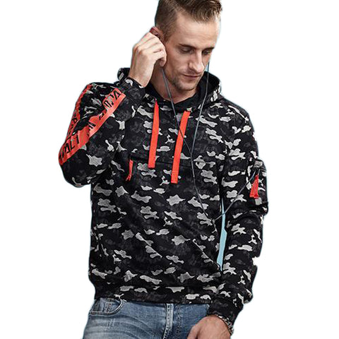 Camouflage Hooded Sweatshirt with Sleeve Pocket