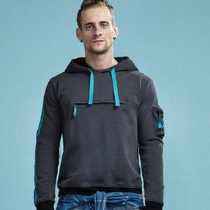 Two Color Contrast Cotton Hooded Sweatshirt with Pocket-men fashion & fitness-wanahavit-Gray-L-wanahavit