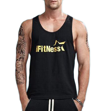 iFitness Printed Sleeveless Shirt-men fitness-wanahavit-Black-M-wanahavit