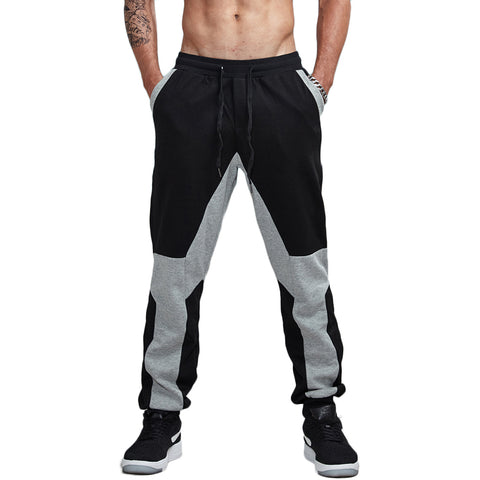 Cotton Patchwork Jogger Pants-men fashion & fitness-wanahavit-Blackgray-S-wanahavit