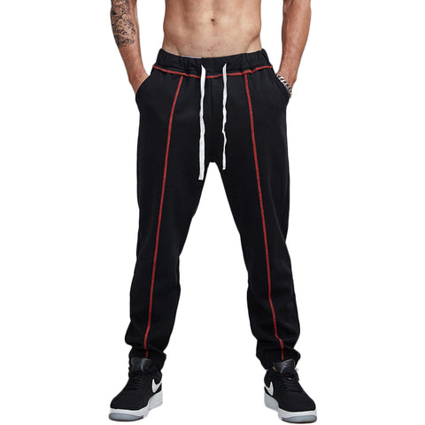 Front Lined Contrast Jogger Pants-men fashion & fitness-wanahavit-Black-S-wanahavit