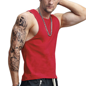 Classic Solid Cotton Tank Tops-men fashion & fitness-wanahavit-Red-M-wanahavit