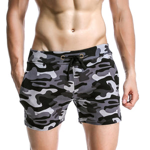 Camouflage Cotton Jogger Shorts with Side Pockets-men fitness-wanahavit-Gray-M-wanahavit