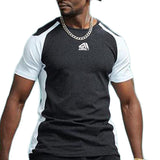 Sleeve Contrast Fitness Shirt-men fitness-wanahavit-DarkGray-S-wanahavit