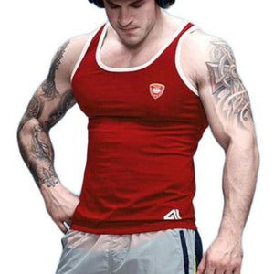 Cotton Slim Fitted Solid Color Tank Tops-men fashion & fitness-wanahavit-Red-M-wanahavit