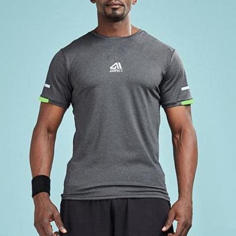Sleeve Stripe Color Accent Compression Shirt-men fitness-wanahavit-Gray-L-wanahavit