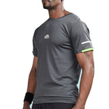 Sleeve Stripe Color Accent Compression Shirt-men fitness-wanahavit-Gray-S-wanahavit