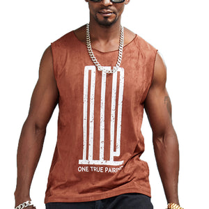 One True Pairing Print Sleeveless Shirt-men fashion & fitness-wanahavit-light gray-M-wanahavit