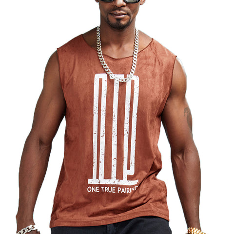 One True Pairing Print Sleeveless Shirt-men fashion & fitness-wanahavit-Rust red-M-wanahavit