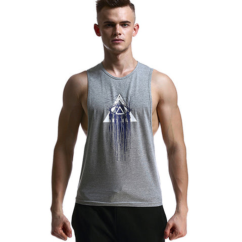 Illuminati Printed Breathable Tank Tops-men fitness-wanahavit-Gray-S-wanahavit