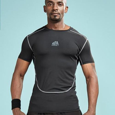 Quick Dry Solid Color Outlined Compression Shirt