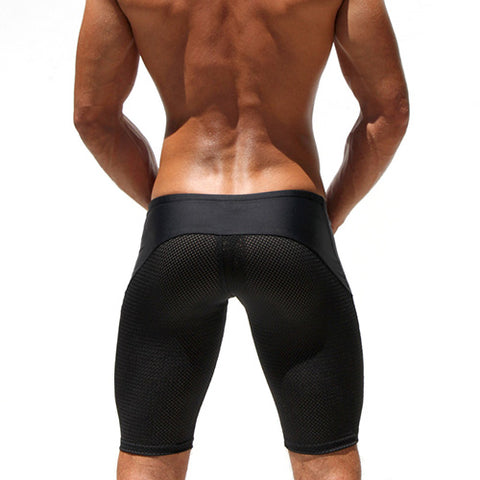 Meshed Workout Slim Fitted Shorts-men fitness-wanahavit-Black-L-wanahavit