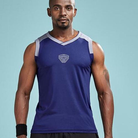 Quick Dry Workout Basketball Jersey Style Shirt-men fitness-wanahavit-Dark blue-M-wanahavit