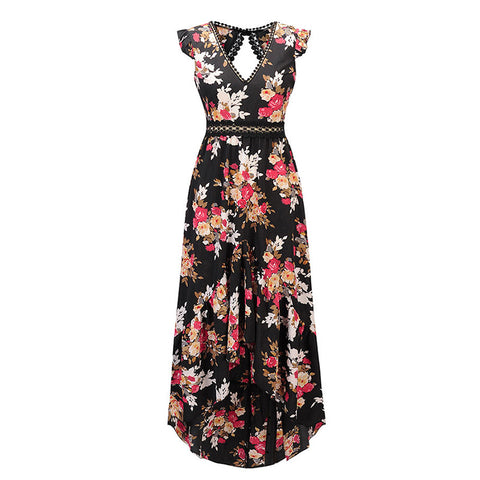 Asymmetrical Floral Print Summer Dress