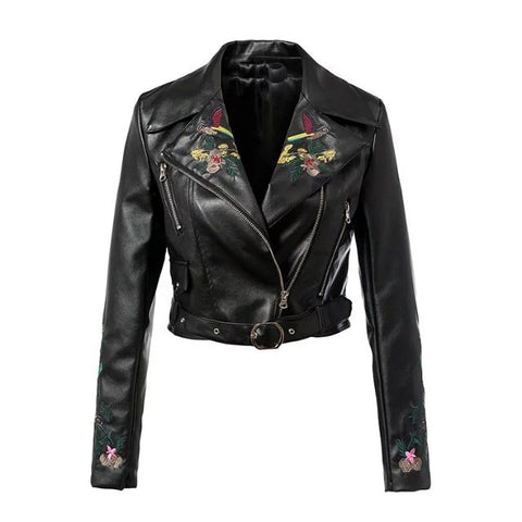 Gothic Chic Cool Floral Embroidery PU Jackets-women-Black-L-wanahavit