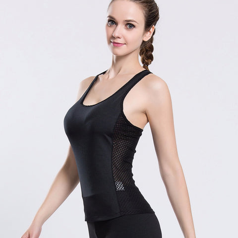 Slim Fit Hollow Out Mesh Back Sleeveless-women fitness-wanahavit-Black-L-wanahavit
