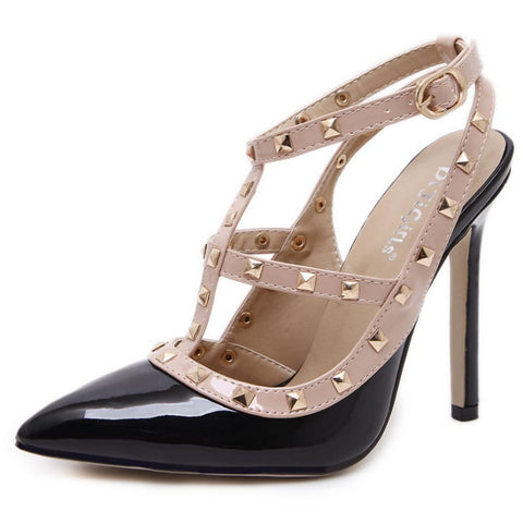 Sexy Pointed Fashion Buckle Studded High Heel Stiletto