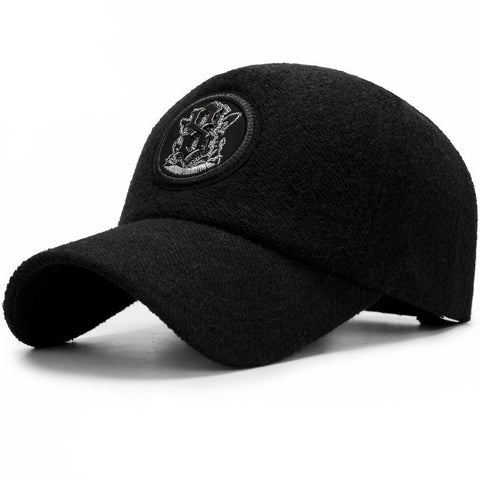 Crest Embroided Baseball Cap-unisex-BLACK-wanahavit