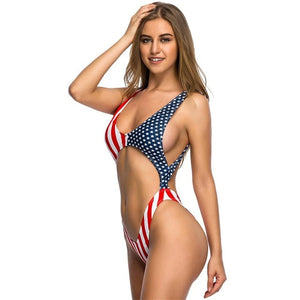 American Flag Tummy Cut Out Bather Monokini-women fitness-wanahavit-Flag-L-wanahavit