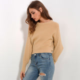 Solid Colored Batwing Long Sleeve Sweater-women-wanahavit-Khaki-One Size-wanahavit