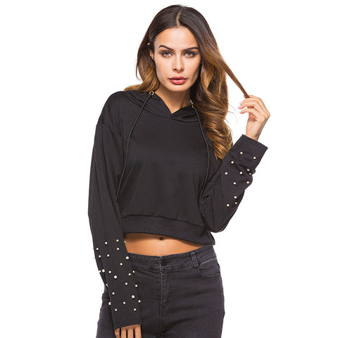 Beading Crop Top Hooded Sweatshirt-women-wanahavit-Black-L-wanahavit