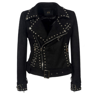 Belt Rivet Gothic Faux Leather PU Jacket-women-wanahavit-Black-L-wanahavit