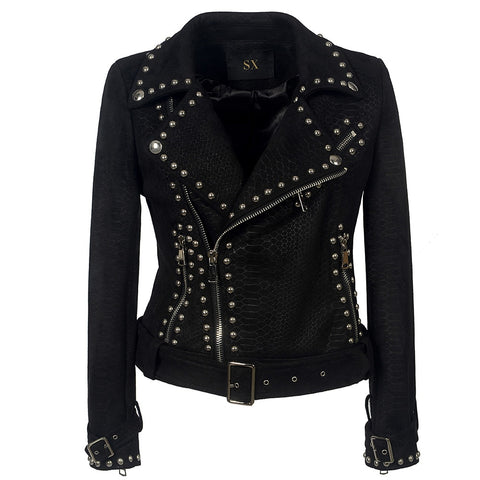 Belt Rivet Gothic Faux Leather PU Jacket - women - wanahavit