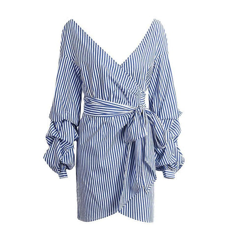 Asymmetrical Sexy Off Shoulder Wrap Dress-women-wanahavit-Blue White Stripe-S-wanahavit