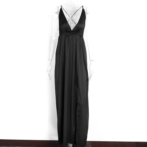 Elegant Backless Satin Long Dress-women-wanahavit-Black-S-wanahavit