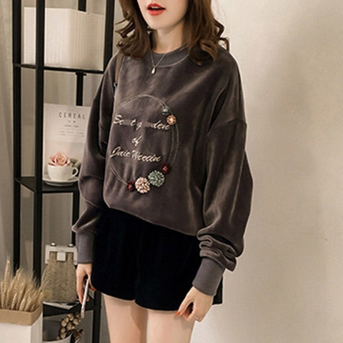 Velvet Preppy Style Casual Sweatshirt-women-wanahavit-Gray-M-wanahavit