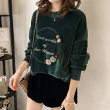 Velvet Preppy Style Casual Sweatshirt-women-wanahavit-Green-M-wanahavit