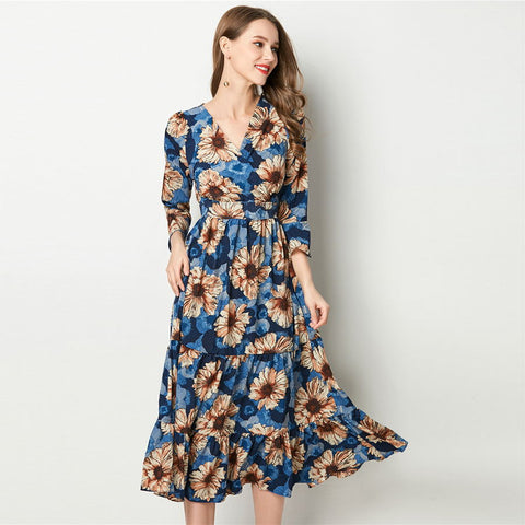Bohemian Floral Chiffon Flare Sleeve Dress-women-wanahavit-Blue-L-wanahavit