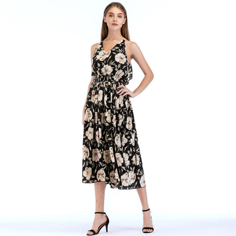 Bohemian Floral Print Backless Dress-women-wanahavit-Black-L-wanahavit