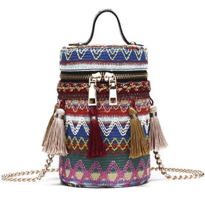 Boho Weave Ethnic Tassel Barrel Shaped Bag-women-wanahavit-blue-Mini(Max Length<20cm)-wanahavit