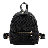 Fashionable Bohemian Straw Mini Backpack-women-wanahavit-Black-wanahavit