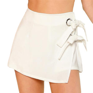 Side Bow Tie Knotted Overlap Wrap Shorts-women-wanahavit-White-XS-wanahavit