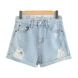 Ripped Hole Basic Denim Shorts-women-wanahavit-Blue-S-wanahavit
