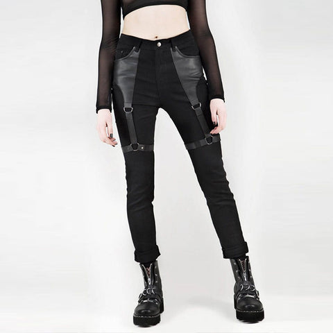 Gothic Punk Rock PU Leather Cargo Pants-women-wanahavit-Black-L-wanahavit