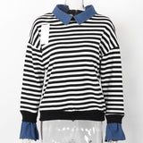 Fleece Denim Collar Flare Long Sleeve Sweatshirt-women-wanahavit-Striped-L-wanahavit