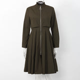 Casual Long Zippered Trench Coat