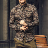 Casual Camouflage Cotton Long Sleeve Shirt #S2128-men-wanahavit-orange Camouflage-S-wanahavit