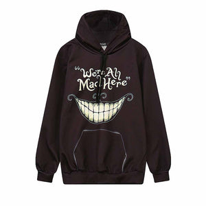 We're All Mad Here Grin Printed Hip Hop Loose Hoodies-women-wanahavit-Black-M-wanahavit