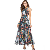 Backless Floral Printed Chiffon Maxi Long Dress