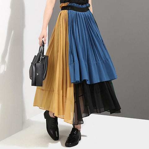 Colorful Chiffon Maxi Skirt Women Casual Skirt-women-Black-One Size-wanahavit