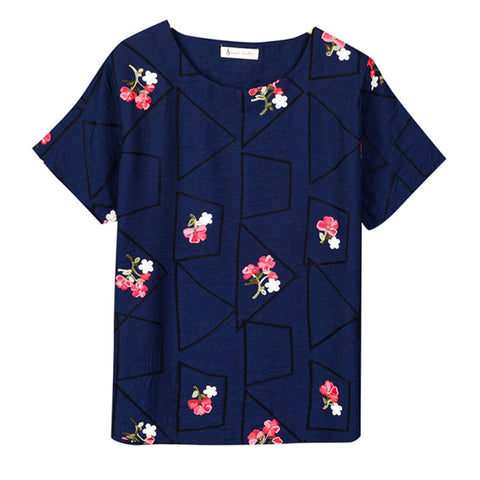 Embroidery Geometric & Floral Tees-women-wanahavit-Blue-One Size-wanahavit