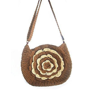 Bohemian Knitted Straw Floral Beach Shoulder Bag-women-wanahavit-coffee-wanahavit