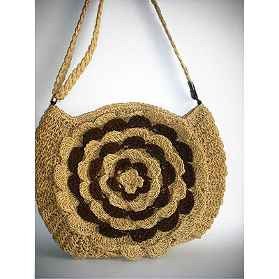 Bohemian Knitted Straw Floral Beach Shoulder Bag