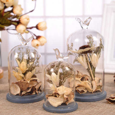 Creative Artificial Dried Flowers with Vivid Birds Terrarium Vase-home accent-wanahavit-S-wanahavit
