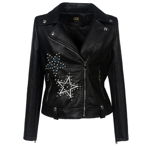 Embroidery Gothic Faux Leather Jacket-women-Black-S-wanahavit